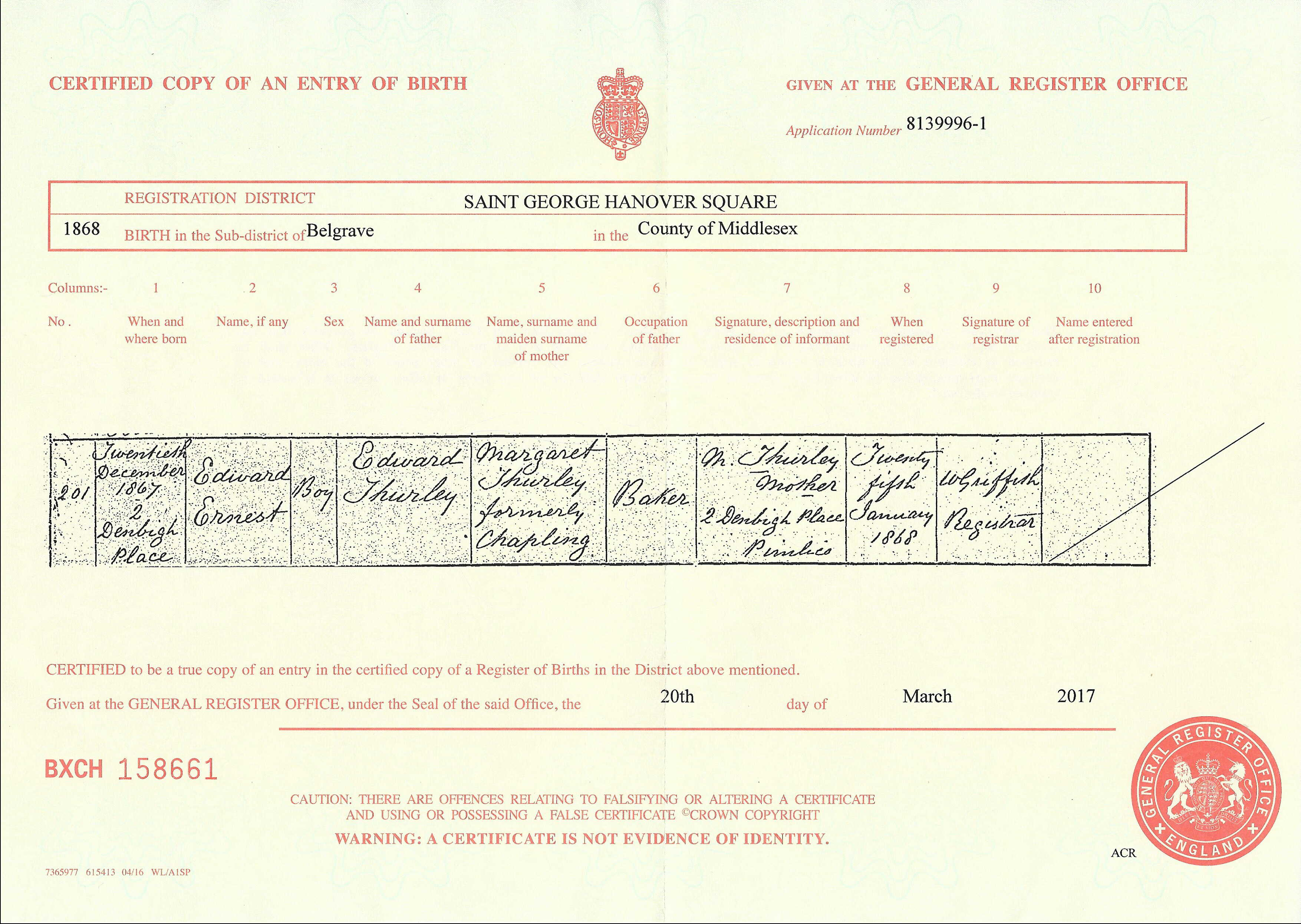 Thurleyyule surname research bmd bmd birth certificate for edward ernest thurley aiddatafo Image collections
