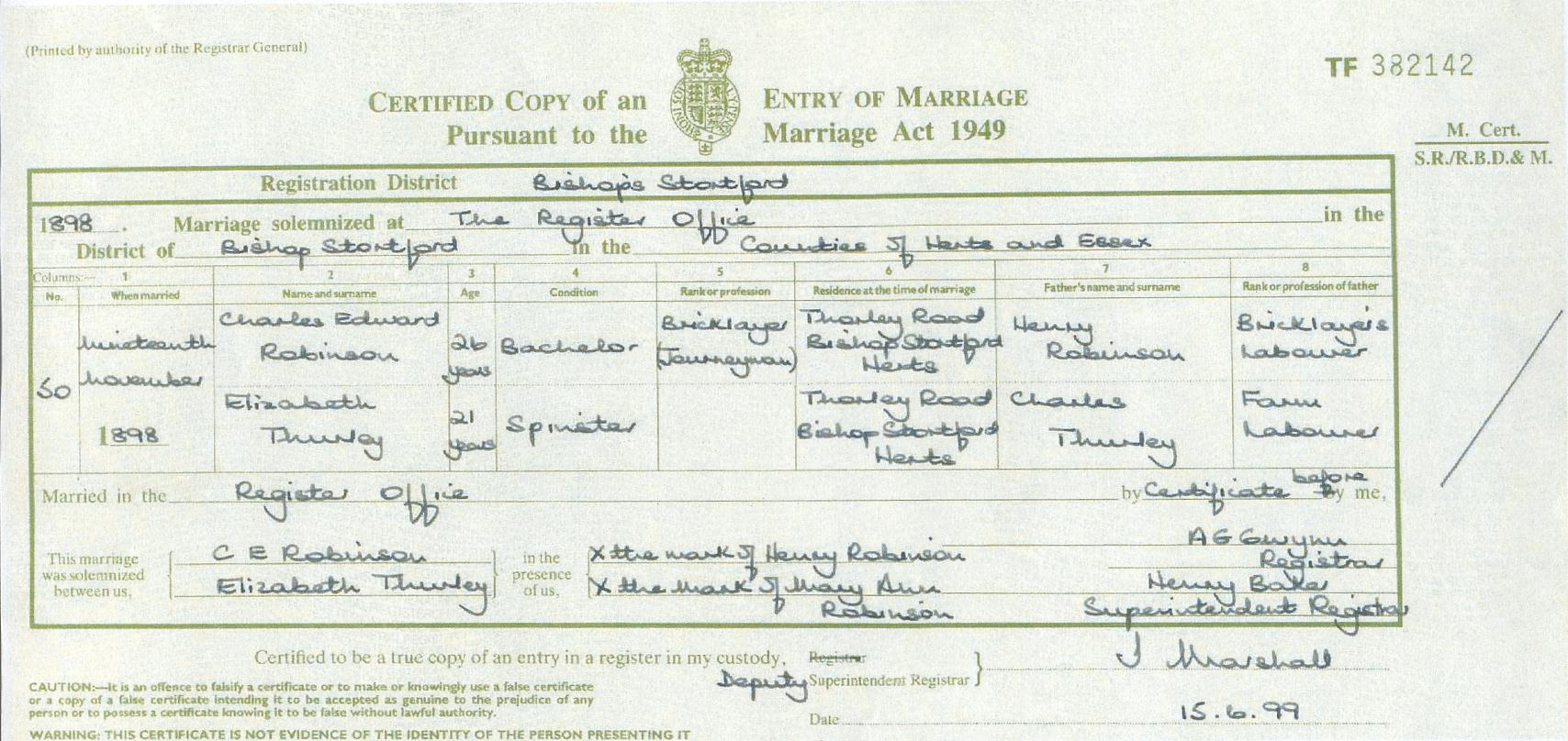 Thurleyyule surname research bmd bmd marriage of charles edward robinson and elizabeth thurley 19 november 1898 bishops stortford hertfordshire england aiddatafo Choice Image