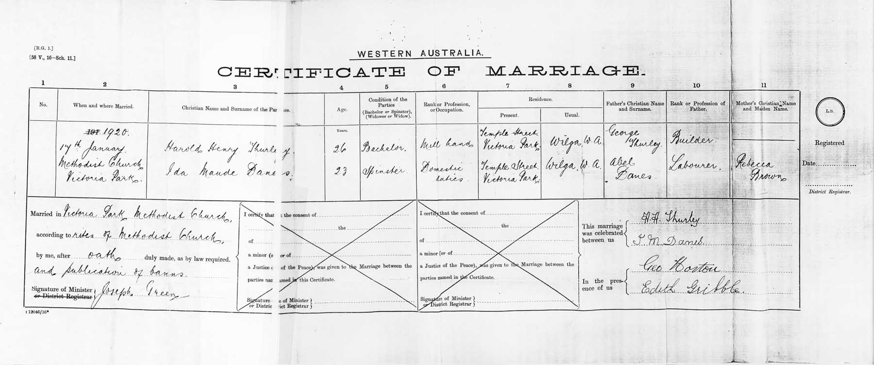Thurleyyule surname research bmd bmd marriage of harold henry thurley and ida maude danes 17 january 1920 victoria park western australia australia bmd birth certificate aiddatafo Image collections